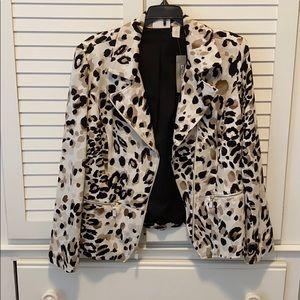 Chico's cotton blazer size 1 NWT leopard print